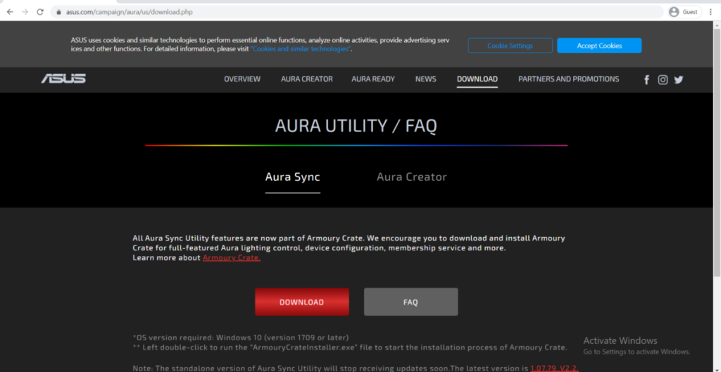 ASUS AURA DOWNLOAD PAGE