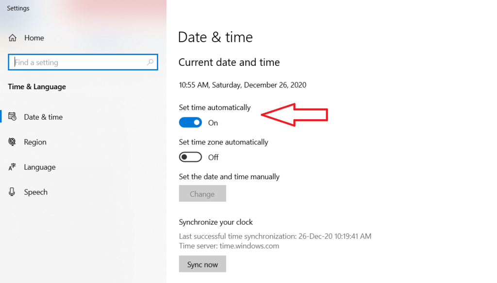 Setting Time and Date to Automatic