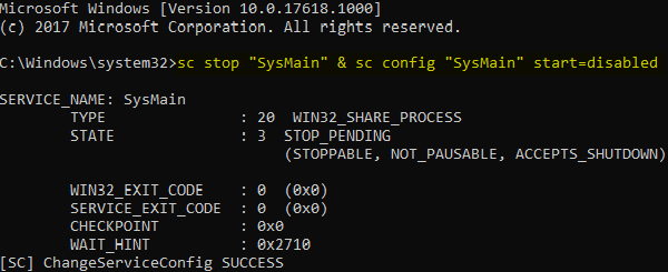 Disabling Sysmain through Command Prompt